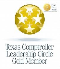 Logo for the Texas Comptroller Leadership Circle - Gold Member